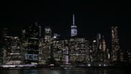 New York City Financial District at night video