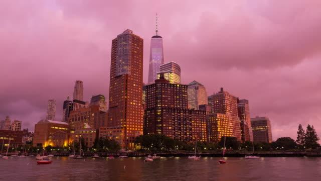 New York City Lower Manhattan Day To Night Pink Sunset Timelapse video