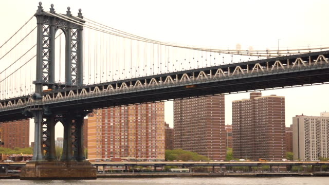 New York City Manhattan Bridge East River Auto Transportation video