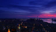 New York City Manhattan City Skyline 4k sunset video