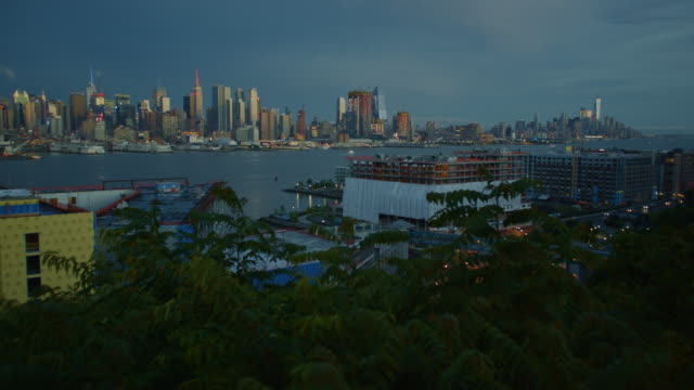 New York City manhattan dark moody sunset skyscraper cityscape video