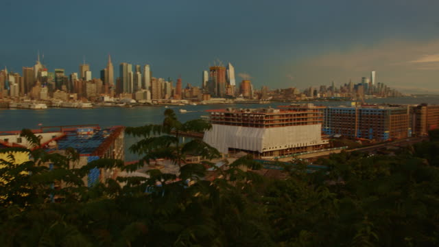 POV New York City manhattan dark moody sunset skyscraper cityscape video