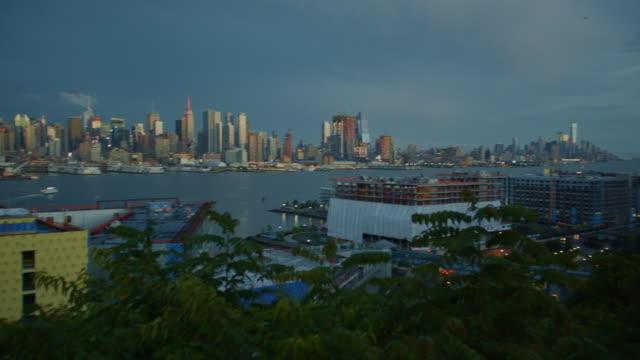 New York City manhattan dark moody sunset skyscraper cityscape POV video