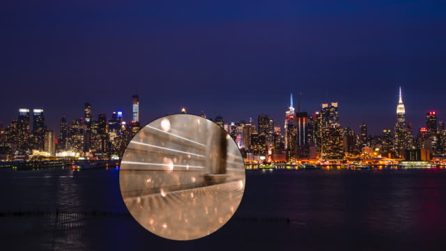 New York City Night Skyline Crowd traffic Busy Empire Binocular video