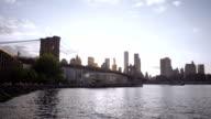New York City Skyline at sunset establishing shot Brooklyn video