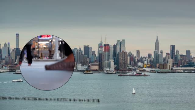 New York City Skyline Cityscape Crowd traffic Busy Empire Binocular video