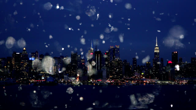 New York City skyline cityscape Silver christmas snow glitter video