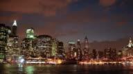 New York City skyline evening to night video