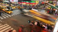 New York City street intersection, time lapse video