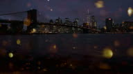 New York City with gold snow glitter happy new year video