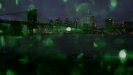 New York City with green snow glitter happy new year video