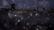New York City with silver snow glitter happy new year video