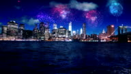 New York Manhattan night fireworks video