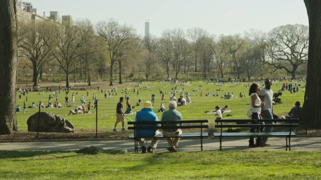 New York Manhattan People enjoy spring in Central Park video