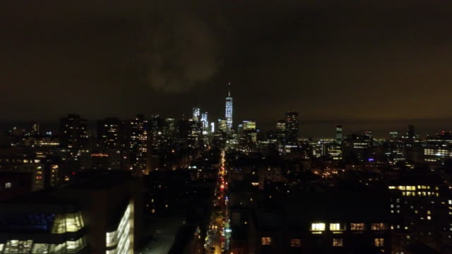 AERIAL: New York skyline and One World Trade Center video