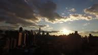 AERIAL: New York skyline as the sun sets video