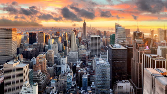 New York skyline at sunset, USA, Time lapse video