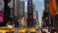 new york summer day famous times square advertising leds walls 4k usa video