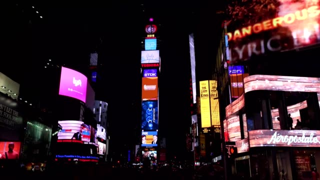 New York Times Square New York with billboards neon lights and Illuminated signs, Manhattan, North America, USA. Night. Iconic video
