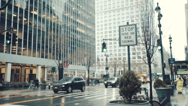 New YorkView of hanging traffic signal in New York United States video