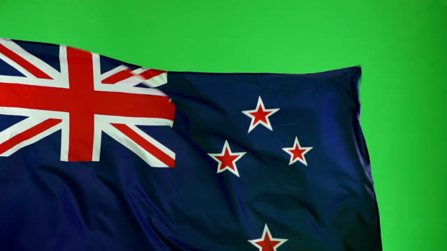 New Zealand Flag on green screen, Real video, not CGI - Super Slow Motion video
