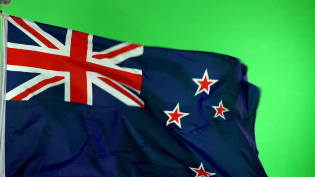 4K: New Zealand Flag on green screen, Real video, not CGI video