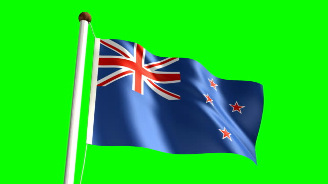 New Zealand flag (with green screen) video