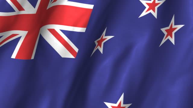 New Zealand Flag - waving, looping video
