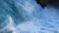 New Zealand: Huka Falls. Spectacular aqua colored waterfalls. Close-up video