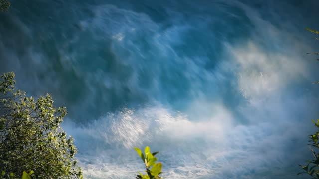 New Zealand: Huka Falls. Spectacular aqua colored waterfalls. video