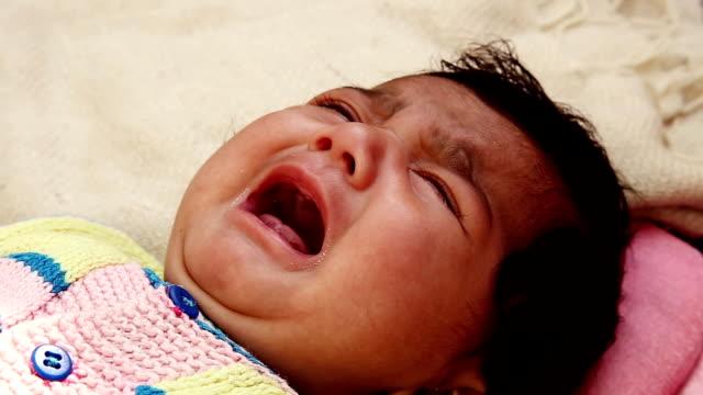 Newborn baby cry. video