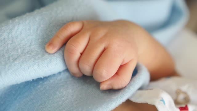 Newborn baby hand video