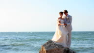 newlywed couple on the sea video