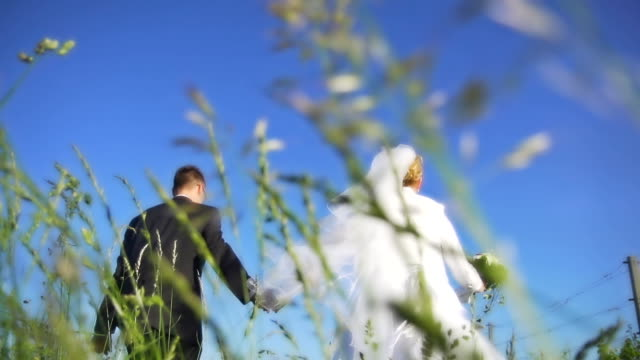 HD SUPER SLOW-MO: Newlywed Running In Grass video