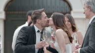 SLO MO Newlyweds making a toast and kissing video