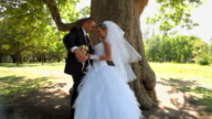 Newlyweds standing under a tree video