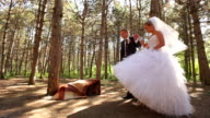 Newlyweds walk in the forest video