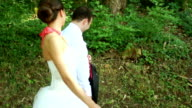Newlyweds walking in the park video