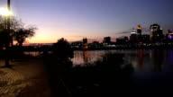 Newport Riverside pan to Cincinnati Skyline by night  - NEWPORT, KENTUCKY USA video