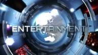 News broadcast tittles. Blue. Entertaiment, Sport, Economy. video