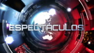 News broadcast tittles. Yellow and red. Espectaculos, deportes y econom+°a. video