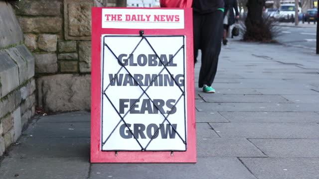 News Headline board - Global Warming fears grow video