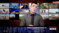 News presenter in studio-breaking news video