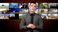 News presenter in studio-brown background video