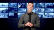 News presenter in studio-gray backgraound video
