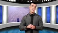 News presenter in studio-screen as background video