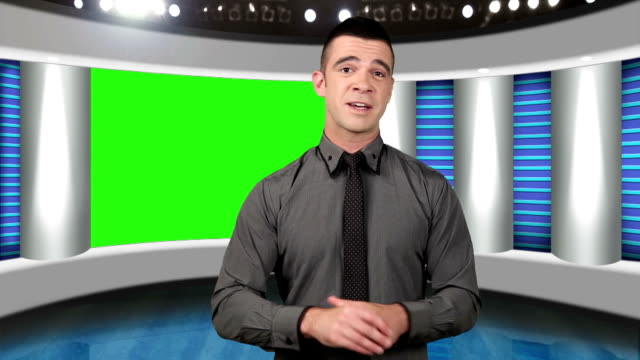 TV news presenter with green screen as background video
