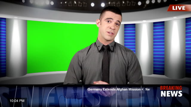 TV news presenter with green screen video