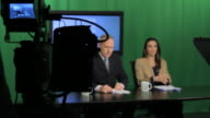 News presenters preparing in television for broadcast video
