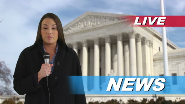 News reporter talking in front of US Supreme Court video